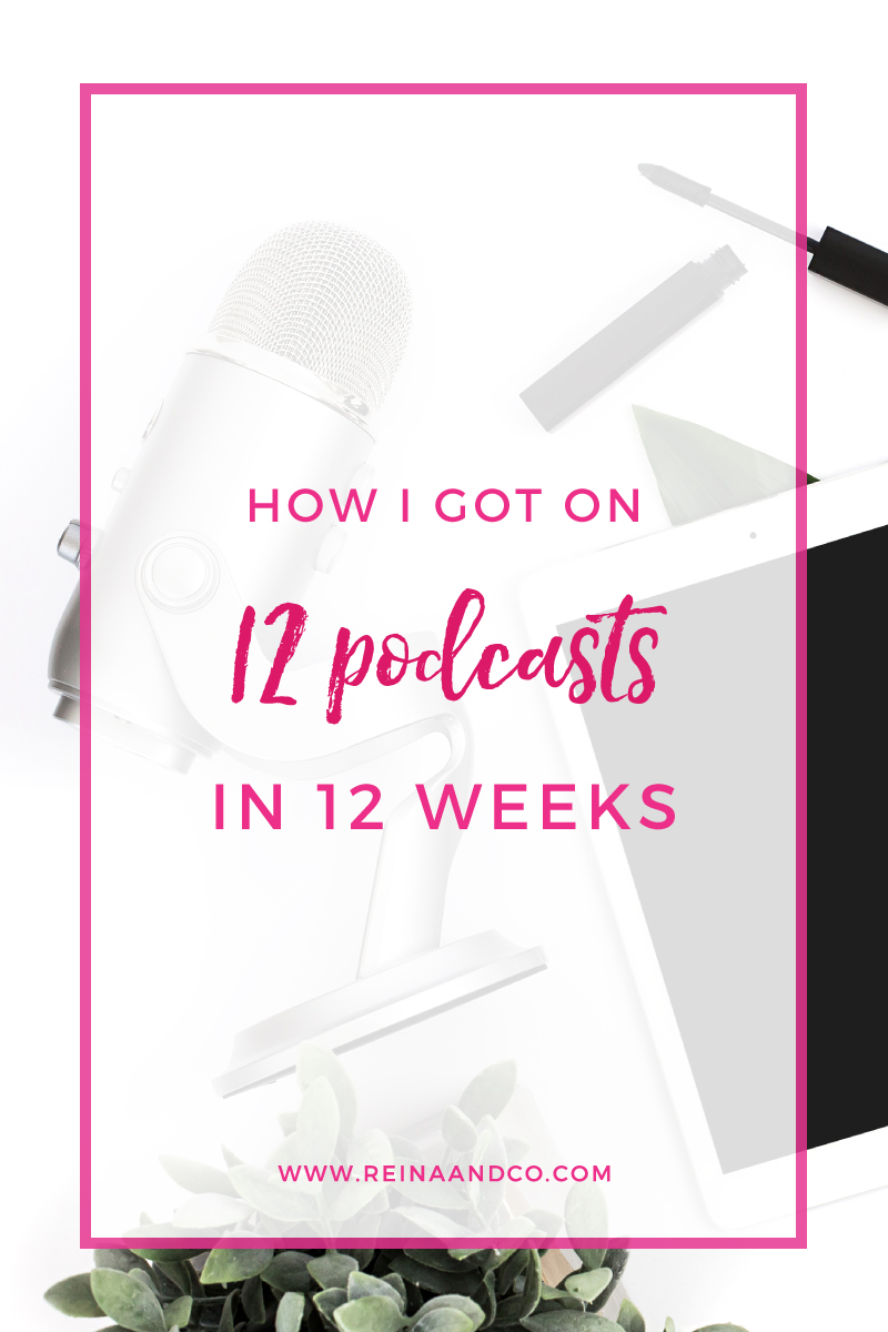 "I love podcasts. I love listening to them and I love being on them. For me, it's one of the easiest ways for me to do visibility work for my business. It's also the thing that people ask me about the most. ""How do I get asked to be a guest on podcasts?"" Here are the tips I used to pitch each of the 40 podcasts. These tips are relevant whether you're trying to get on your first show or if you're looking to also get on 12! Reina + Co 