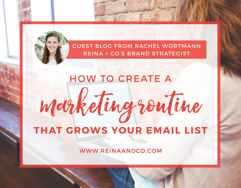 How to create a marketing routine that grows your email list Reina + Co | Life + Biz Success Coaching Ⓡ | Rachel Wortmann | 600 Acres LLC | 600 Acres
